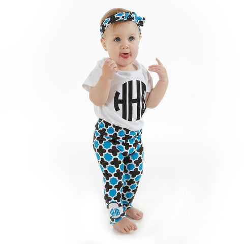 Baby Girls Quatrefoil Initial Ireland Leggings