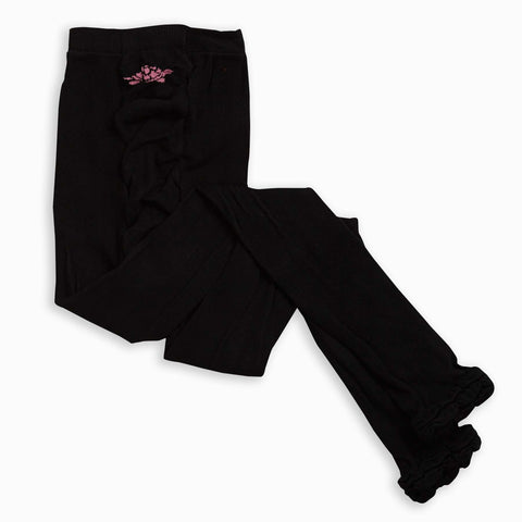 Black Ruffle Footless Tights