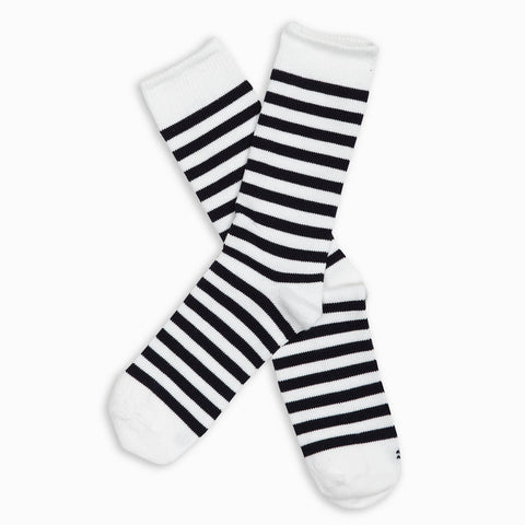 Men Black Stripe Crew Sock