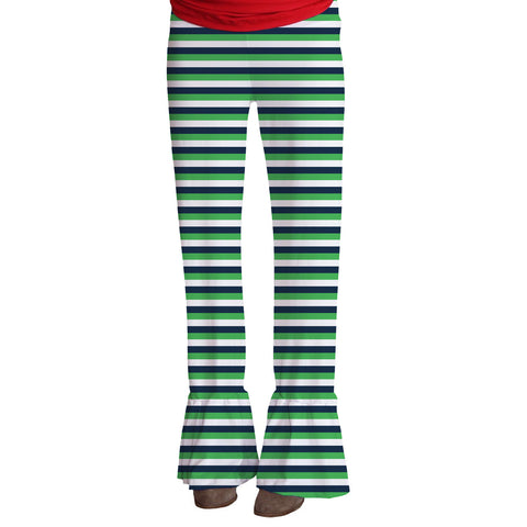 Ladies Green Navy Stripe Ruffle Pant