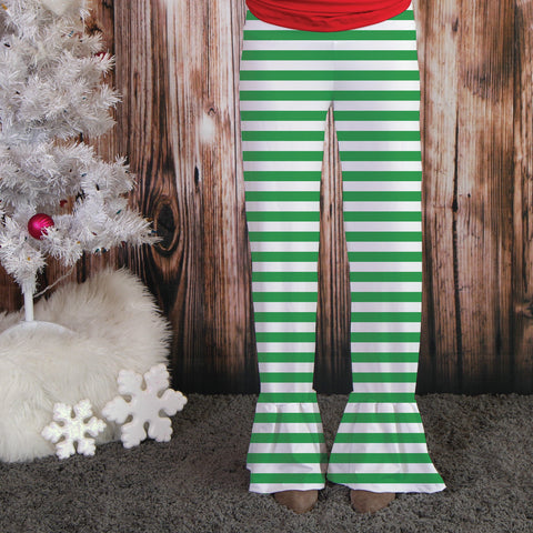 Ladies Green Stripe Ruffle Pant