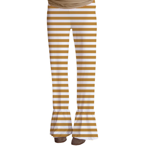 Ladies Mustard Stripe Ruffle Pant