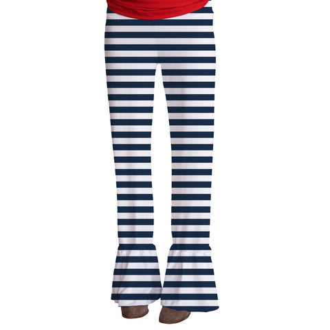 Ladies Navy Stripe Ruffle Pant