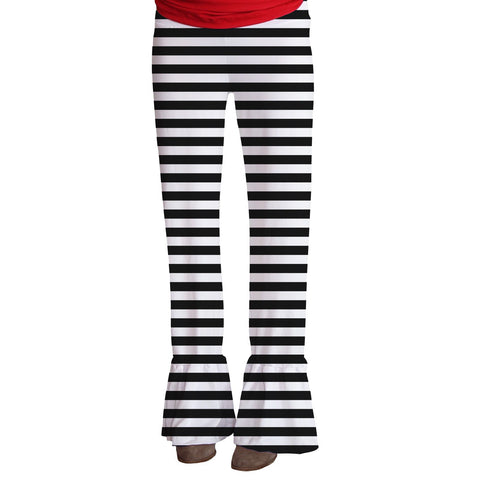 Ladies Black Stripe Ruffle Pant