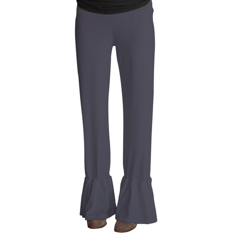 Ladies Charcoal Ruffle Pant
