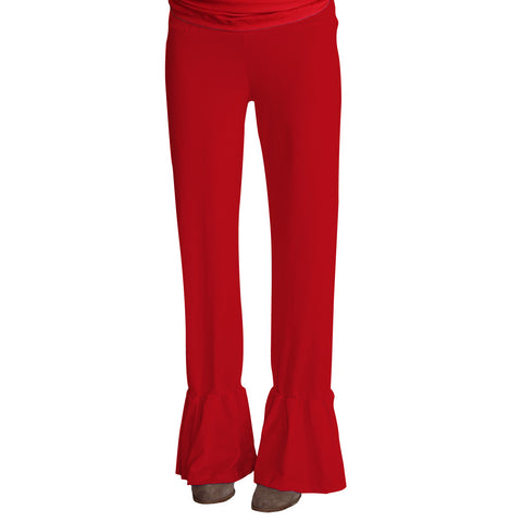 Ladies Red Ruffle Pant
