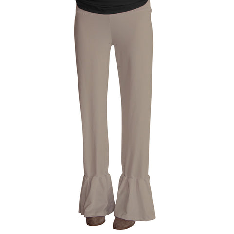 Ladies Taupe Ruffle Pant
