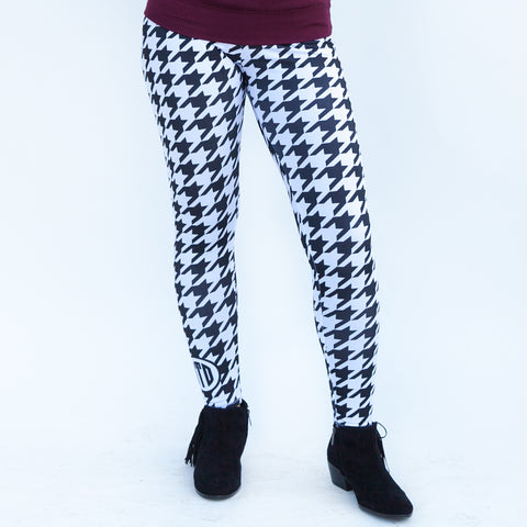 Ladies Black Houndstooth Arden Leggings