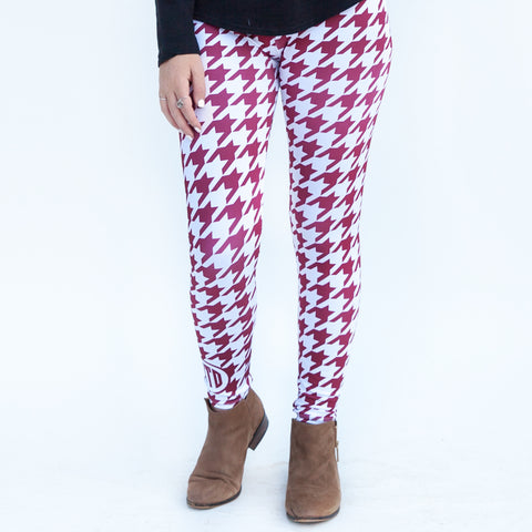 Ladies Crimson Houndstooth Arden Leggings
