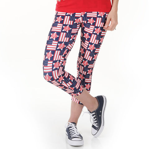 Ladies Flag Stars Initials Arden Capri Leggings