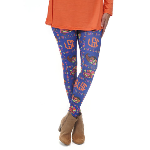 Ladies Thanksgiving Initials Arden Leggings