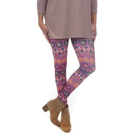 Ladies Pumpkin Patch Aztec Initials Arden Leggings