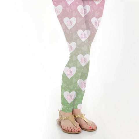 Ladies Sketch Heart Initials Arden Leggings
