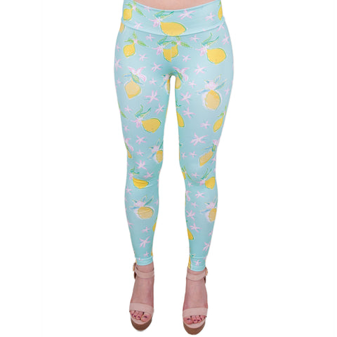 Blue Floral Lemon Arden Leggings