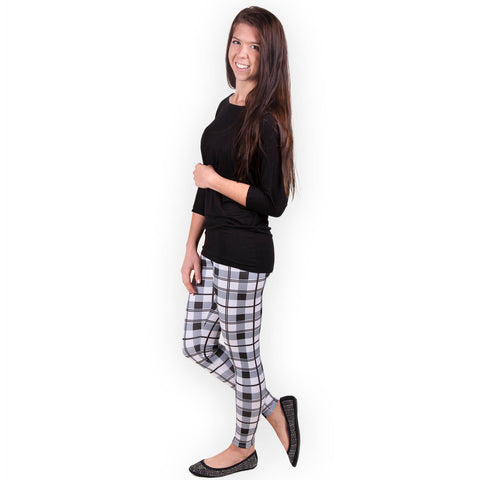 Ladies Black White Plaid Arden Leggings