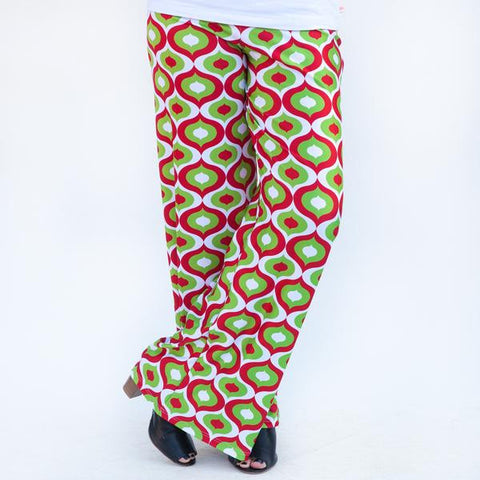 Ladies Christmas Geo Palazzo Pants