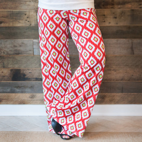 Ladies Christmas Ikat Palazzo Pants