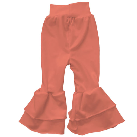 Baby Girls Orange Ruffle Leggings