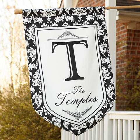 Black Damask House Flag with Initial & Name