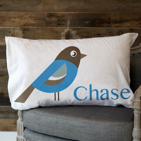 Blue Bird Name Minky Pillowcase