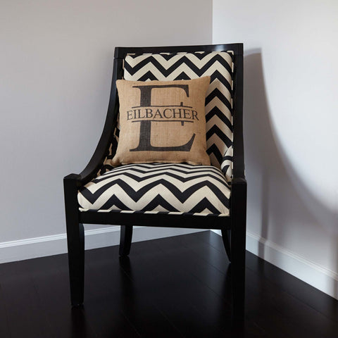 Big Initial with Name Custom Burlap Pillow Cover