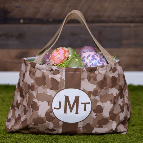 Camo Bunnies Initial Easter Basket
