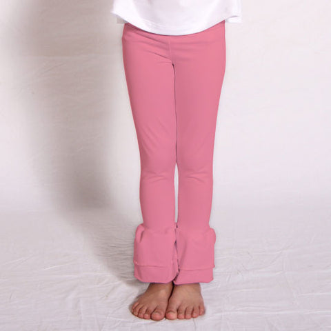 Girls Coral Ruffle Leggings