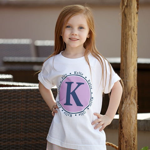 Lavender Navy Initial Name Tee