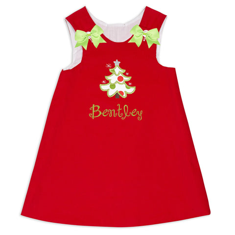 Baby Girls Red Corduroy Aline Dress