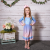 Blue Gradient Bunny Name Ruffle Carly Dress