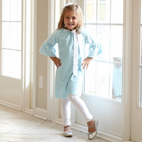 Topaz Snow Chevron Minky Dress