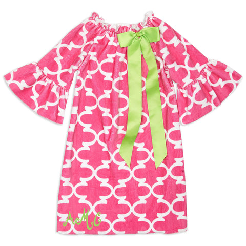 Hot Pink Lattice Minky Charlotte Dress