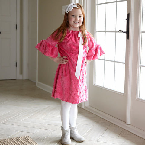 Pink Heart Minky Charlotte Dress