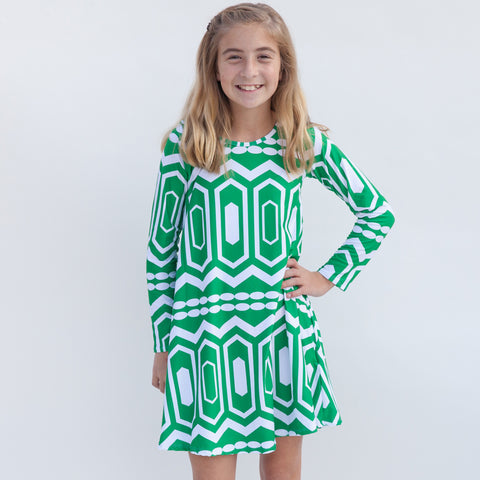 Green Abstract Charlee Dress