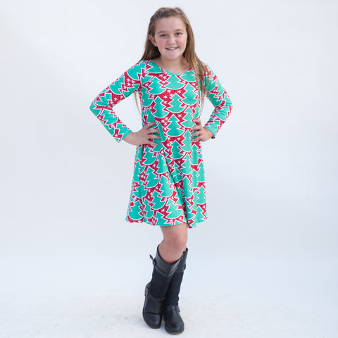 Red Whimsy Tree Charlee Dress