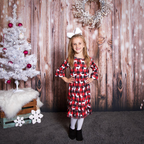 Red Check Deer Livvy Dress