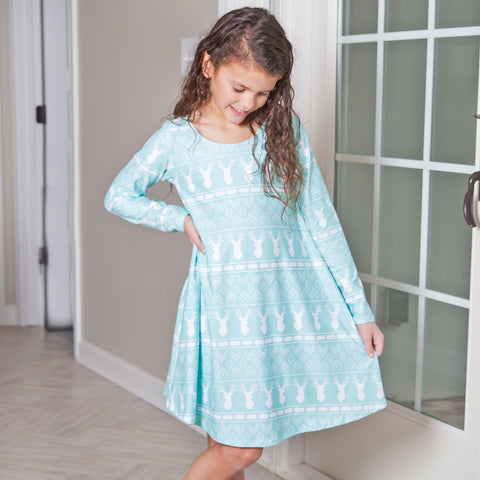 Aqua Aztec Deer Charlee Dress