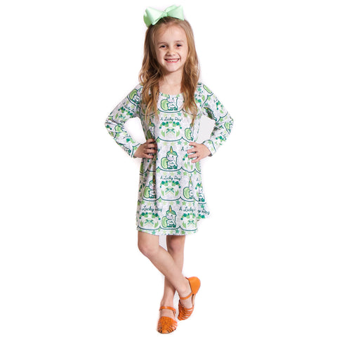 St Pattys Unicorn Name Charlee Dress