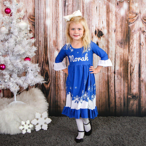 Arctic Snowfall Blue Livvy Dress
