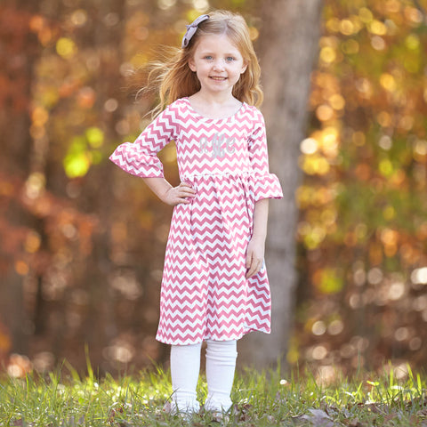 Pink Chevron Liv Dress
