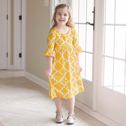 Mustard Lattice Liv Dress