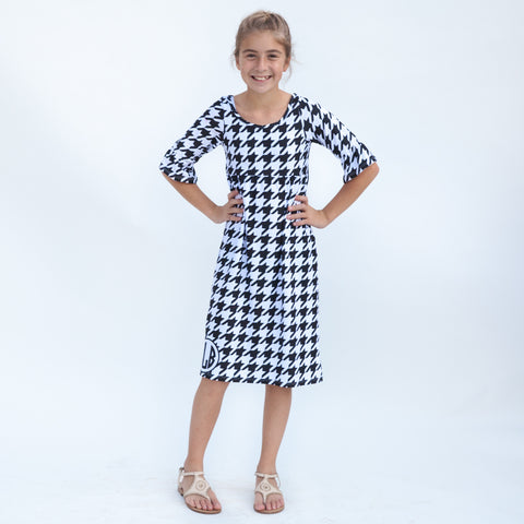 Black Houndstooth Liv Dress