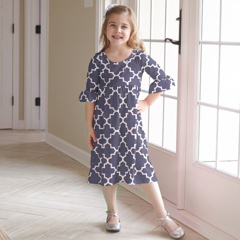 Gray Lattice Liv Dress