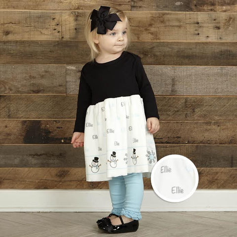 Baby Girls Black Gray Snowman Name Minky Dress