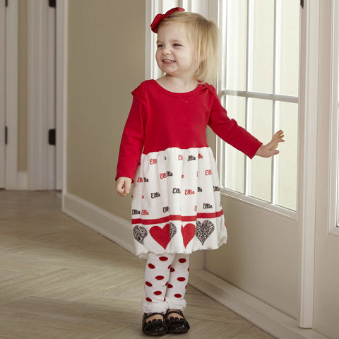 Red Zebra Hearts Name Minky Dress