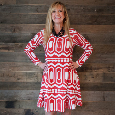 Red Abstract Aubrey Dress