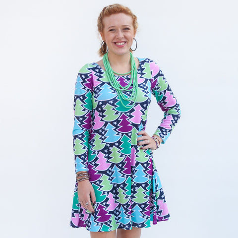 Navy Whimsy Tree Aubrey Dress