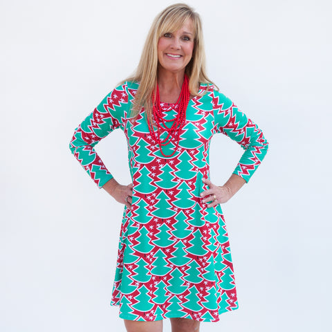 Red Whimsy Tree Aubrey Dress