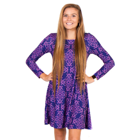Damask Tiles Aubrey Dress