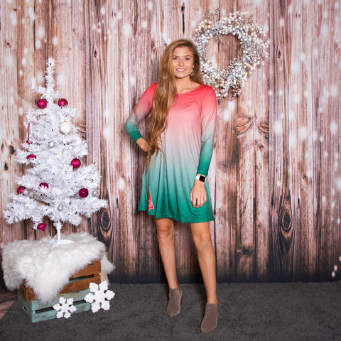 Christmas Ombre Red Aubrey Dress